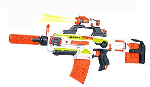 Brigamo SB206–Modulus Flame War Blaster, 4in1Sparafreccette con torcia tattica e batteria, pistola giocattolo spara freccette, include 30munizioni gratis.