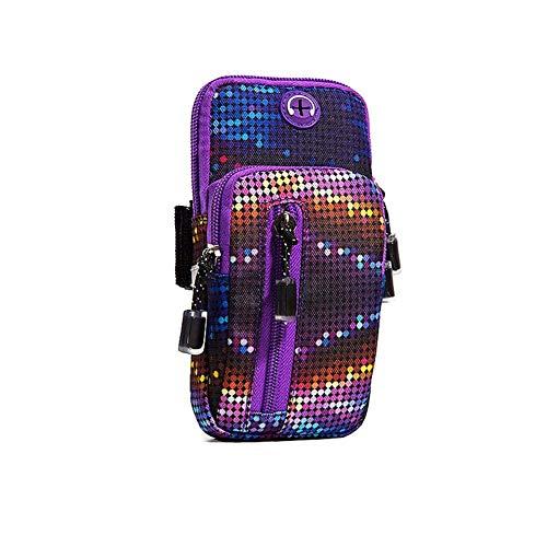 Nlkfgiujhri Handytasche Sport Armtasche, Hochwertige Multifunktion Wasserdichte Handy Armtasche, Für EIN 6-Zoll-Mobiltelefon, Für Laufen, Wandern, Radfahren, Joggen (Color : Lila, Size : -)