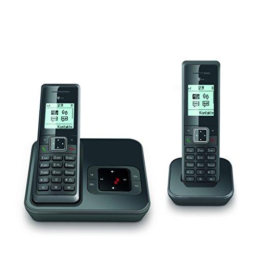 Telekom Sinus A206 Duo Schnurlostelefon Graphit mit Anrufbeantworter und 2 Mobilteilen