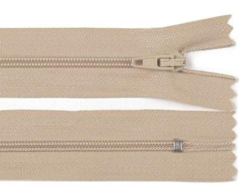 5 Stück 40 cm langer Spiralreißverschluss, nicht teilbar, beige, 3mm Laufschiene Reißverschluss - Beige 5 Stück