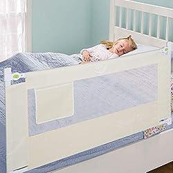 Ejoyous 150 x 60 cm Barrière de Lit Pour Enfants, Portable & Pliable Barrière de Sécurité Anti-Falling Lit pour Protection De Bébé, Beige