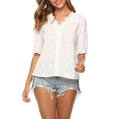 Kalte Schulter Band-sleeve Top (RUIMENGMENG Frauen-kalte Schulter-Spitze-Oberseiten-reizvolle herausgeschnittene Hemden-Lange Hülsen-runde Kurzschluss-Hülsen-Normallack-lose beiläufige Oberseiten mit Tasche Weiß XL)