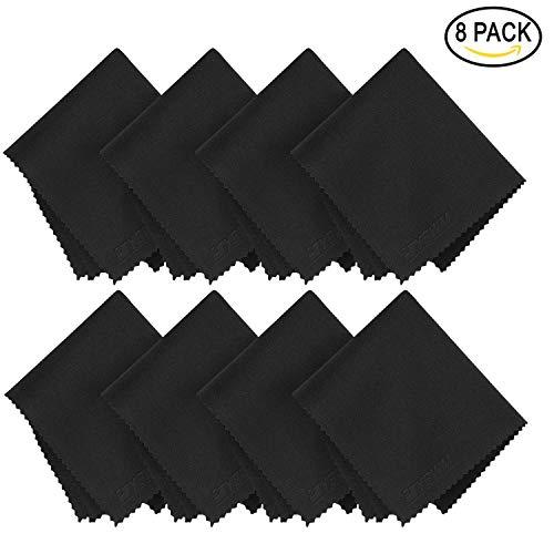 8X Brillen-Putztuch aus Mikrofaser Reinigungstuch Schutztuch für Mobiltelefone Tablet Laptop Kameralinsen HD LCD Led TV Bildschirm 15x17cm Schwarz