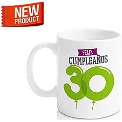 """Taza Cerámica para Desayuno en Color Blanco de 300 ml, Un Regalo Original para Aniversarios - """"Feliz 30 Cumpleaños"""""""