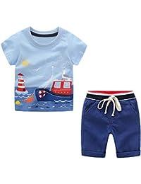 Bebe Niño Verano Ropa Conjuntos, Algodón Imprimiendo Coche Mangas Corta Camiseta + Pantalones Cortos de Niños Conjunto de Trajes