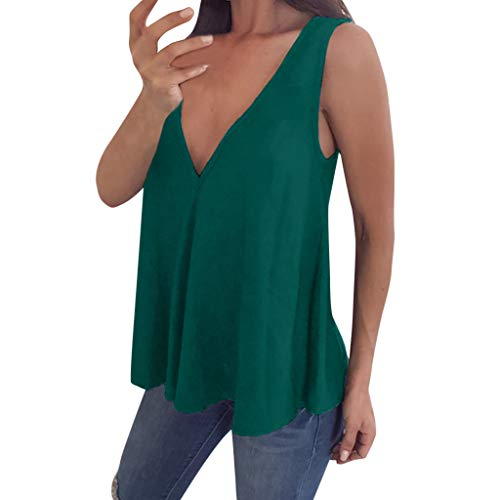 VEMOW Cami Tops Camiseta Cuello V Mujer Camiseta sin