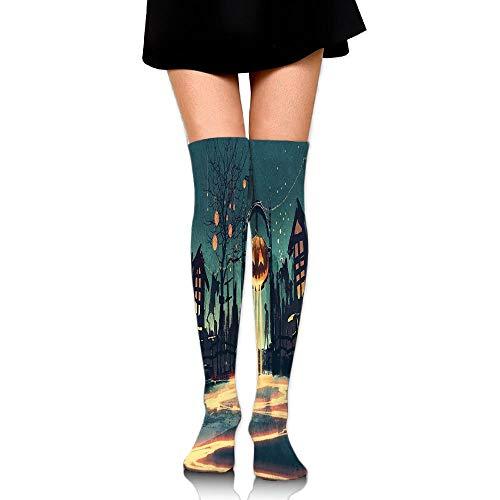 Juzijiang Halloween Theme Night Pumpkin And Haunted House Ghost Town Artful Women's Fashion Over The Knee High Socks (65cm)