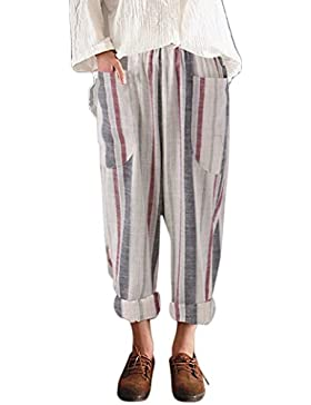 CICIYONER Pantalones Largos de Algodón para Mujeres Cintura Alta Vintage con Rayas Sueltas