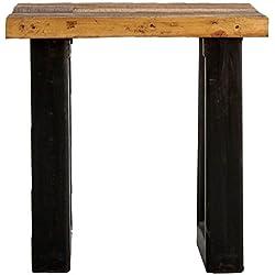 Indhouse - Mesa auxiliar loft con estilo industrial en hierro y madera maciza Steinbeck