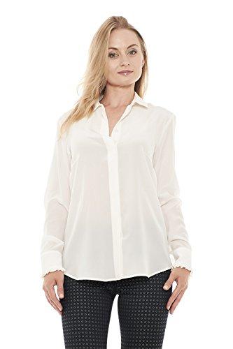 Max Mara Damen Bluse, einfarbig weiß Bianco Large