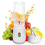 Dee Banna Mini Portable USB Rechargeable Juicer Blender with 6 Blades 460ml White Personal Blender for Traveling,Spots,Home,Office and Outdoor,Perfect for Fruit,Milk Shake and Baby Food