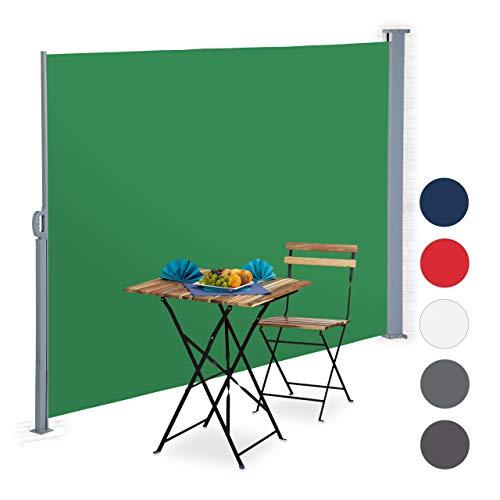 Relaxdays ausziehbare Seitenmarkise, Sichtschutz für Balkon, Terrasse, Wand-, Bodenmontage, Seitenrollo 180x300 cm, grün