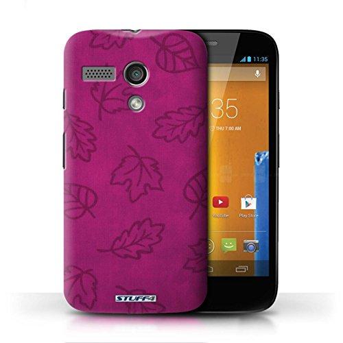 Kobalt® Imprimé Etui / Coque pour Motorola MOTO G (2013) / Jaune conception / Série Motif Feuille/Effet Textile Rose