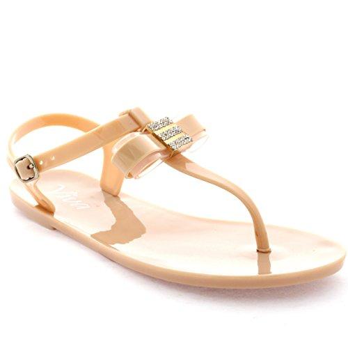 Damen Diamante Bogen Schnalle Flip-Flops Fesselriemen Sommer Sandalen Nackt