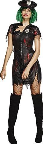 Smiffy's 23214M - Fever Zombie Cop Kostüm mit Kleid und Hut, schwarz (Smiffys Fever Kostüme)