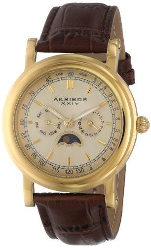Akribos XXIV da uomo in stile vintage, multifunzione, in acciaio INOX,...
