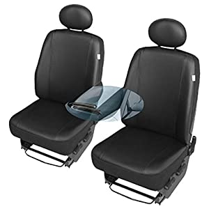 ZentimeX Z742779 Sitzbezüge SET Fahrersitz / Einzelsitz Armlehne rechts + Beifahrersitz / Einzelsitz Armlehne links Kunstleder schwarz