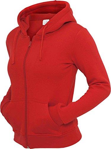 Modische Damen Sweatjacke mit Kapuze in vielen Farben Red