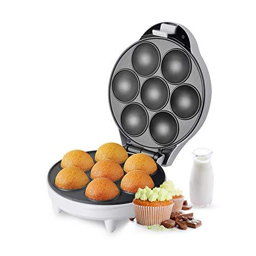 Aigostar Popcaker Silver 30CET - Macchina per Cupcake/Muffin con 7 fori, 700 Watt, Piatti Antiaderenti. Design esclusivo.