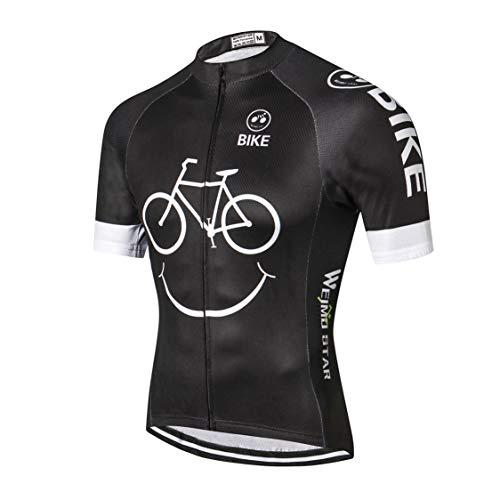 Weimostar MTB Trikot Herren Radtrikot Kurzarm Bike Tops Mountain Road Kleidung Fahrradhemden Sommer Pro Team Rennrad Trikot für Herren Atmungsaktiv weiß schwarz Größe XXL