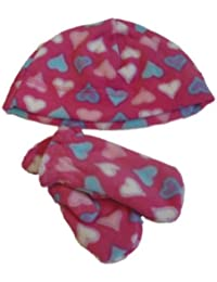 5aca2f5392c03 Faded Glory Infant   Toddler Girls Pink Hearts Fleece Beanie   Mittens Hat  Set