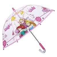 Disney Princess Mini Transparent Stick Umbrella Little Girl - Disney Princess Small Umbrella for Girls - Pink Details - Windproof Light Dome Brolly in Fiberglass - Safe Opening - Diam 64 cm - Perletti