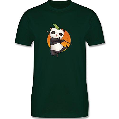Wildnis - süßer Kampfpanda - Herren Premium T-Shirt Dunkelgrün