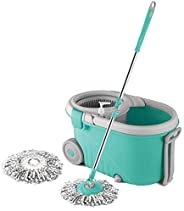 Spotzero by Milton Elegant Spin Mop With Big wheels (Aqua Green, Two Refills)