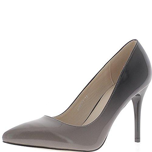 ChaussMoi Dos tonos marrón y gris tacon zapatos 9.5 cm apuntado consejos - 36