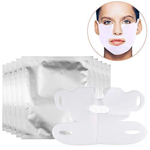 10 Stück Facial Slimming Lifting Chin Belt, V förmige Hydrotherapie Whitening Pull Maske für Hals und Kinnlifting, Anti Aging, Reduziert Falten, dunkle Flecken und feine Linien -