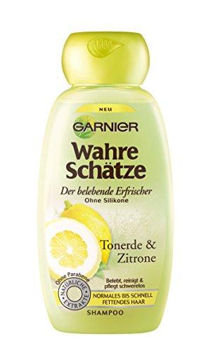 Garnier Wahre Schätze Erfrischendes Shampoo Tonerde & Zitrone, belebt, reinigt und pflegt normales bis schnell fettendes Haar, 250 ml