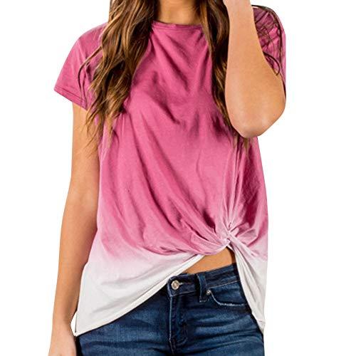 d36950265e TOPKEAL Camisas Mujer Manga Corta Damas De Color Degradado Anudada El  Verano Blusas Mujeres Tops Camisetas