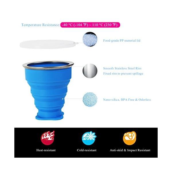 WEINAS 2 pcs Vaso de Agua de Silicona Plegable Portátil Retráctil 200ML Botella de Agua Reutilizable Taza Vaso de Viaje… 1