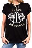 MAKAYA Biker Shirt Damen - Aircooled Boxer Motor - Motorrad Motiv locker lässig geschnitten große Größen Oversize Top Frauen schwarz M