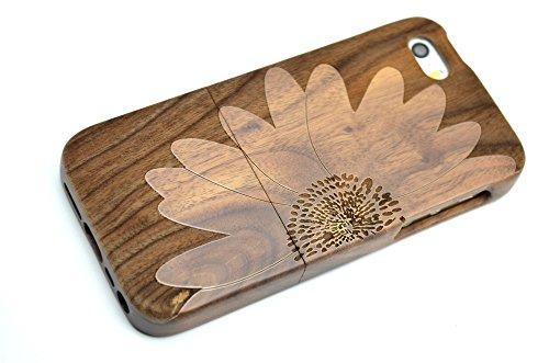 Holzsammlung® iPhone SE / iPhone 5S / iPhone 5 Holzhülle - Walnuss - NatürlicheHandgemachteBambus / Holz Schutzhülle für Ihr Smartphone WalnussSonnenblume