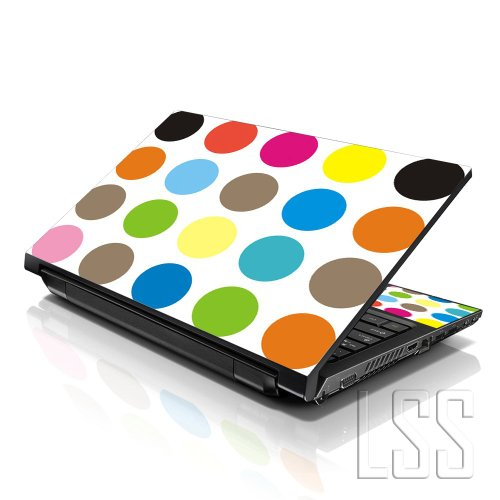LSS (17-17,3 Zoll) Notebook Laptop Skin Aufkleber für 16,5 cm, 17 Zoll, 17,3 Zoll, 18,4, 19 Zoll, Apple, Asus, Acer, HP, Dell, Lenovo, Asus, Compaq, inkl. 2 Wrist Pad mit Dots