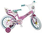 Disney Kinderfahrrad Minnie Mouse 16 Zoll Mädchen - Fahrrad mit Puppensitz, Korb, Abnehmbaren Stützrädern