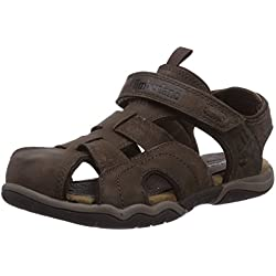 Timberland Active Casual Sandal FTK_EK Oak Bluffs Leather Fisherman - Sandalias de vestir de cuero para niño, Braun (Dark Brown), 39