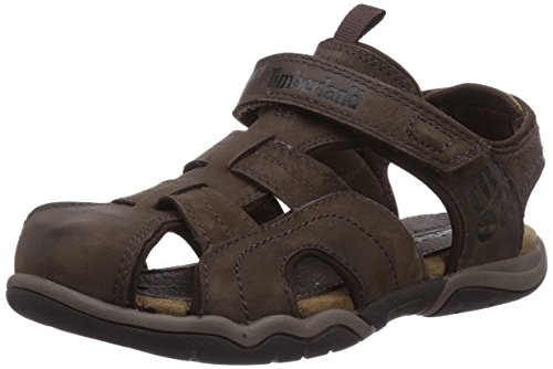 Timberland Active Casual Sandal_Oak Bluffs Leather Fisher, Unisex-Kinder Geschlossene Sandalen, Braun (Dark Brown), 35 EU
