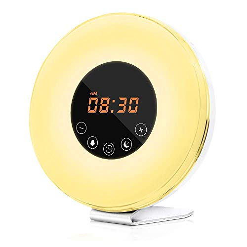 Kklak Despertador LED Lámpara Ajustable Amanecer Sunrise Simulation Alarm Clock + FM Radio Safe