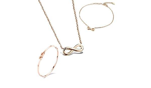 Parure Collier avec pendentif Infinity Bracelet/ /Cheville Fille Femme en Acier Inoxydable set or rose
