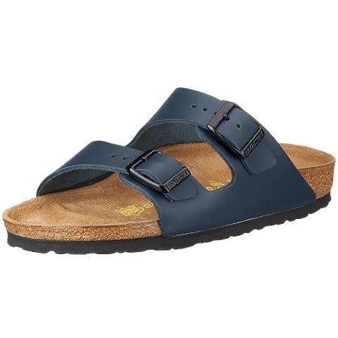 Birkenstock Classic Arizona Leder, Unisex-Erwachsene Pantoletten, Blau (Blau), 43 EU