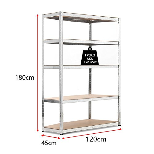 180x120x45cm Extra Wide 5 Tier Garage Shelving Storage Unit Heavy Duty Racking Shed Office Utility Room Warehouse Shelves - Galvanised