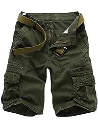 Runyue Pantaloncini da Uomo Tattici Militari Cargo Pantaloni Corti da  Lavoro Shorts(Nessuna Cintura) a3f92c72be6a