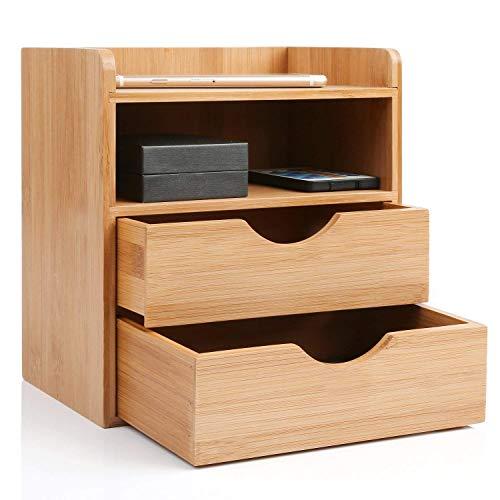 Homfa Organizador bambú para escritorio Organizador de Suministros de Oficina Organizador de Mesa 25 * 15 * 11cm