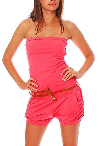 Hosenanzug Jumpsuit kurz mit Gürtel für Damen