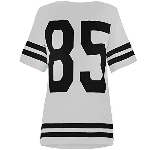 """Glamour Babe Damen American-Football-Oberteil, Aufdruck 85"""",College-Stil, T-Shirt in Weiß S/M (8/10)"""
