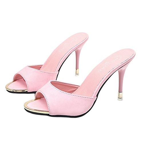 Sfit Damen Sommer Sandalen Hausschuhe mit Absatz Sommerschuhe Offene High Heels Dianetten Hochhackige Slipper (35, Rosa)