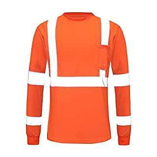AYKRM Hi vis Work Reflective Safety Long Sleeve Polo t-Shirt EN20471 Class3 Orange