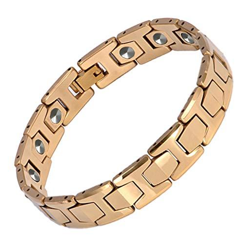 Fenglig Herren Magnet Armband Arthritis Schmerzlinderung Karpaltunnel Angst Armband Negative Ionen Quantum Balance Armband,Gold -